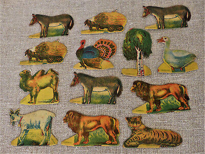 Antique GERMAN Christmas PUTZ Village 13 Litho Cardboard ANIMALS Farm SET TOY #4