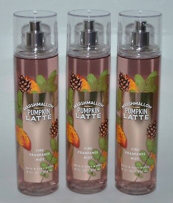 3 Bath & Body Works Marshmallow Pumpkin Latte Fine Fragrance Mist Spray 8 Oz Lot