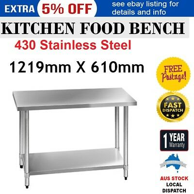 Kitchen Bench 430 Stainless Steel Commercial Food Prep Table 1219x610mm METAL