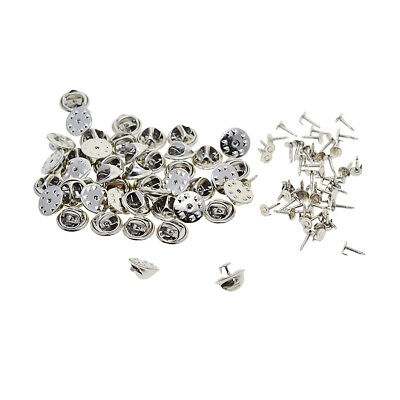 50pcs Badge Hat Pin Metal Tie Back Lapel Butterfly Clasps Fasteners Silver