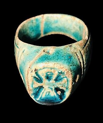 Ancient Blue Faience Ring. Ptolemaic Period Circa 300-Bc Extremely Rare Artifact