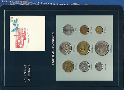 Coin Sets of All Nations Mexico w/card 1987-1989 UNC 5000 Pesos 1988 16MAR88