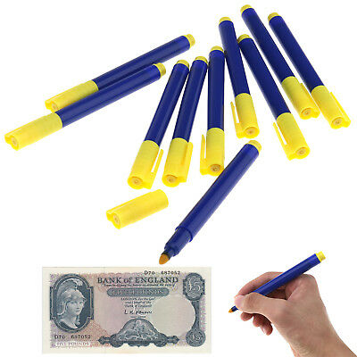 Portable Money Check Counterfeit Detector Marker Fake Banknotes Tester Pen 10