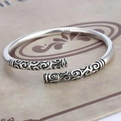 Men Women Vintage Ethnic Open Jewelry Tibetan Silver Cuff Bangle Bracelet Gift