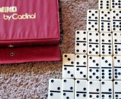 Replacement Dominoes Black Dot Singles Double Nine Crafts Cardinal You Pick Vtg