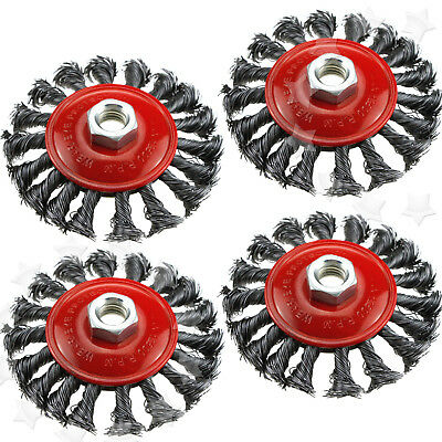 4PCS TWIST KNOT WIRE WHEEL Flat BRUSH SET FOR 4 INCH ANGLE GRINDER M14 CREW
