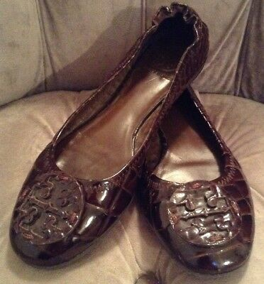 752f92958e7b90 TORY BURCH BROWN Croc Embossed T-Strap Sandals Sz 5 Gold Tone ...