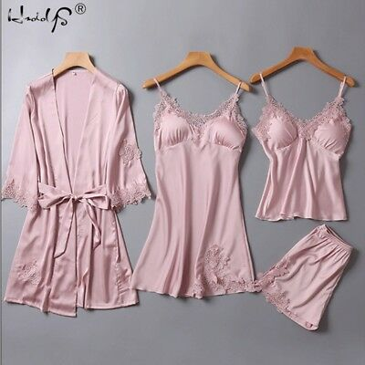4 Pieces Women Summer Satin Pajamas Top Shorts Robe Sleepwear Set Summer Clothes
