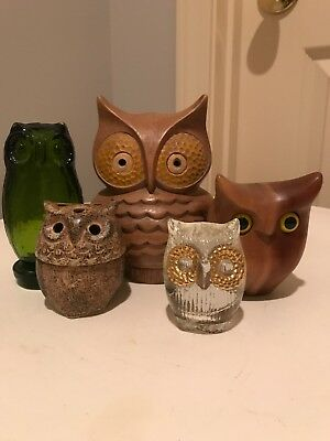 Vrg Mid Century 5 Owl Figurine Set - Instant Collection!