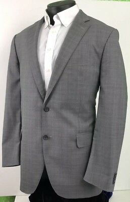 Peter Millar Mens Wool Sport Coat Blazer Gray Blue Windowpane Check Sz 44 Tall