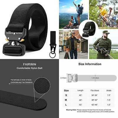 Tactical Belt For Men Military Style Nylon Web W Heavy Duty Quick Release Metal
