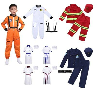 Kid Boys Girls Fancy Dress up Chef/Police/Firefighter Costume Cosplay Outfit Set
