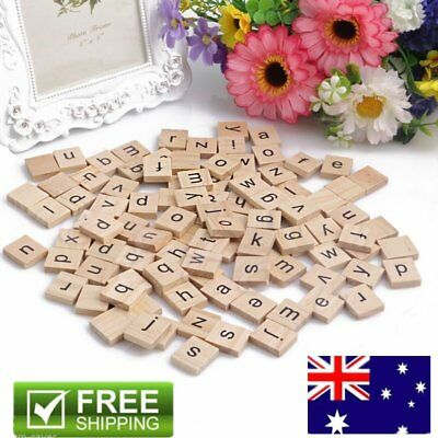 200PCS Wooden Alphabet Scrabble Tiles Black Letters & Numbers For Crafts Wood KO