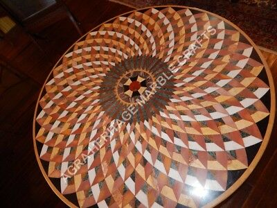 Glamorous Marble Beautiful Dining Center Round Table Top Mosaic Inlay Stone E635
