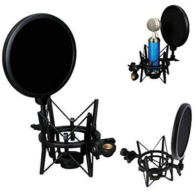 Professional Microphone Mic Shock Mount Holder with Pop Shield Filter Screen NEW