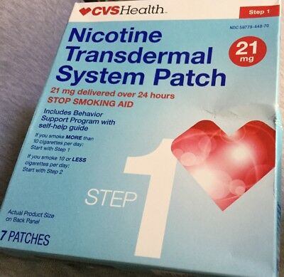 New CVS health nicotine transdermal system patch 21 mg 7 patches exp 03/19