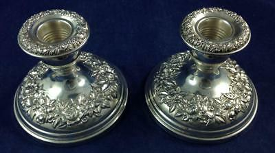 Kirk Stieff REPOUSSE-PARTIAL CHASED Pair of Weighted Sterling Candleholders