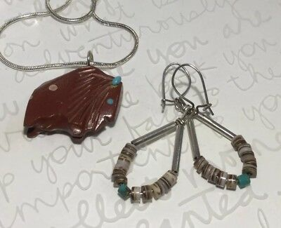 Native Am Hand-Carved Jasper Turquoise BUFFALO Fetish Necklace & Heishi Earrings