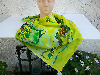 Silk scarf batik or painted Chartreuse Multi lg square 39 X 37 hand made ethnic