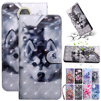For Motorola Moto E5 Plus/E5 Play E4 Case Leather Wallet Card Holder Stand Cover
