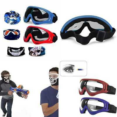 Gun Blaster Face Mask Tactical Protective Goggles Glas RED & BLUE Nerf