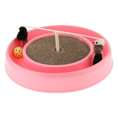 Cat Scratch Board Corrugated Paper Turntable with Mouse and Ball Catch Toy