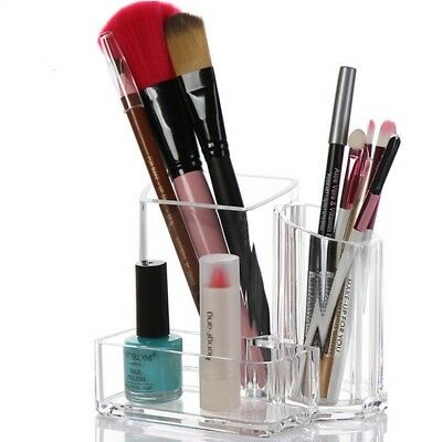3 Grids Women Brush Organizer Acrylic Clear Make Up Cosmetic Holder Storage