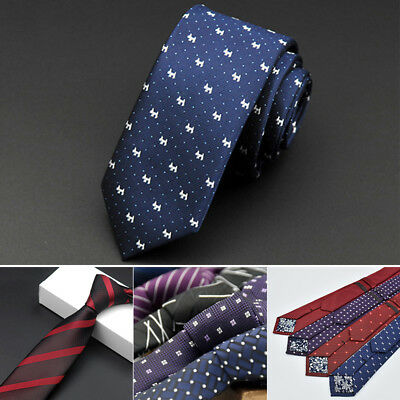 Men Fashion Waterproof Silk Skinny Narrow Striped Dot Business Necktie Neck Tie