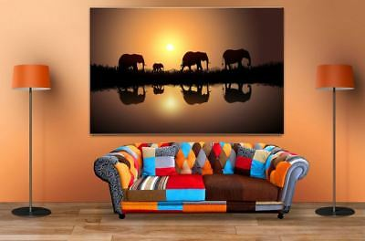 ELEPHANTS SCENERY HOME WALL DECOR BEAUTIFUL PictureS Art Canvas choose your size