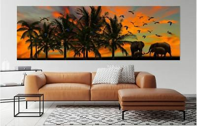 ELEPHANTS SCENERY ART HOME WALL DECOR BEAUTIFUL PictureS Canvas choose your size