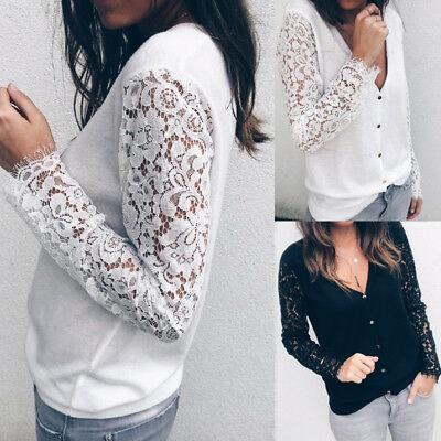 UK Womens Casual Lace Blouse Long Sleeve T-Shirt Ladies Autumn Loose Tops V-Neck