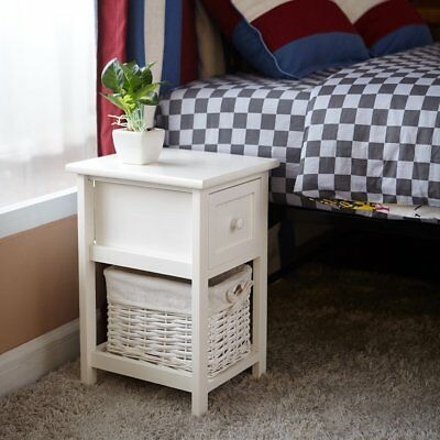 A Pair of Bedside Table Wooden Night Stand Storage Cabinet with Drawer Baskets