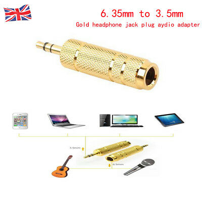 2X BIG to SMALL Headphone Adapter Converter Plug 6.35mm to 3.5mm Jack Audio GOLD