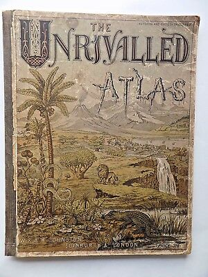 1883 Unrivalled Atlas 34 Maps World Johnston Indian USA Explorers Antique Old