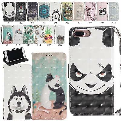 3D Glitter Leather Wallet Flip Case Folio Skin Cover For iPhone 8 7 6 Plus XR XS