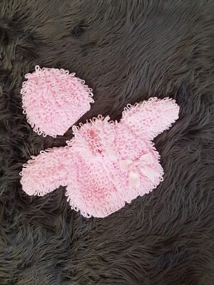 Handmade New Baby Loopy Cardigan And Hat 0-3 3-6 6-9 9-12 Months Romany