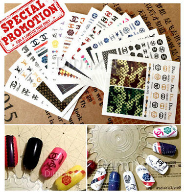 Classis Brand Designer Logo Nail Art Sticker Design Sheet Decal Manicure Tips