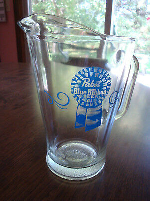 """Vintage Glass Beer Pitcher 9"""" Pabst Blue Ribbon Milwaukee Wisconsin"""