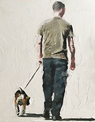 Dog Walk J.Coates Original Oil Painting Art Wall Art 8 x 10 inches