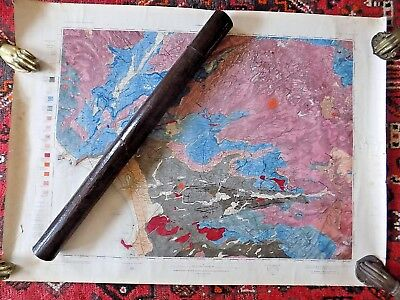 1870 Geological Map Scotland Kilmarnock Cased Geology Antique Geikie Handcolour