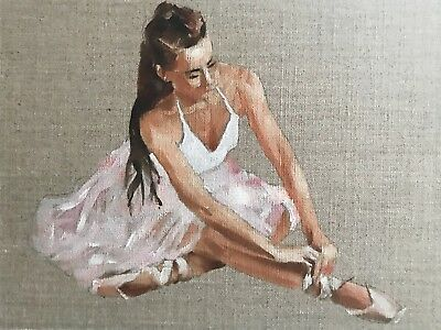 Ballerina J.Coates Original Oil Painting Art Wall Art 8 x 10 inches