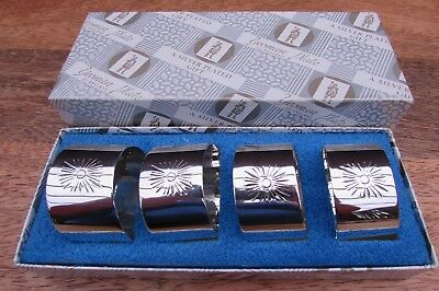 Vintage Yeoman Silver Plated Napkin Rings Serviette Holders X 4 In Original Box
