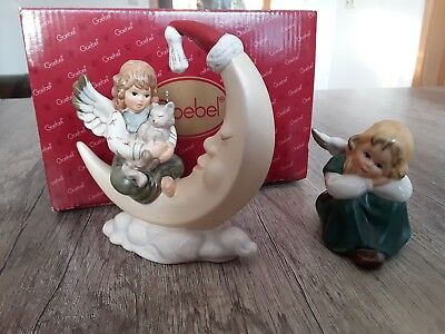 Goebel Engel Angel mit Katze Cat auf Mond Moon 41-304 plus Engel 41-043 Top