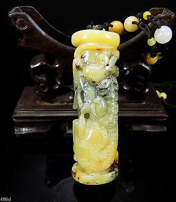 100% Natural Hand-carved Chinese Jade Pendant jadeite Necklace Dragon pole 486d