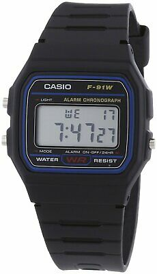 Orologio Originale Casio F-91W-1C Con Scatola Crono Luce Nero Sveglia Vintage