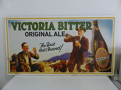 Vintage VB VICTORIA BITTER BEER advertising sign BLOCK MOUNTED POSTER man cave