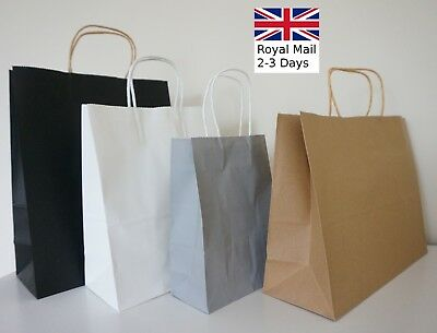 Quality Twist Handle Paper Party and Gift Carrier Bags Black Grey White Brown