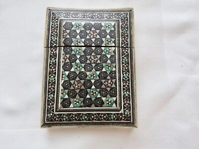 Antique  Mosaic Inlaid Card Case - Multi Color Geometric  Design