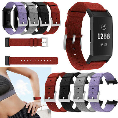 Soft Canvas Woven Fabric Replacement Watch Straps Wrist Band For Fitbit Charge 3