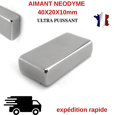 1X AIMANT NEODYME RECTANGLE 40X20X10mm N35 TRES PUISSANT